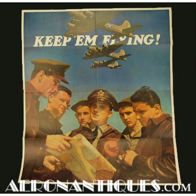 Affiche Propagande Pilote US Army Air Force 1942 WWII