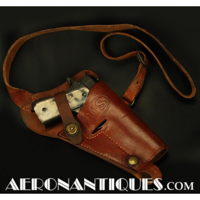 1944 WWII 45 Cal. Pistol Leather Holster Pilot USAAF WWII