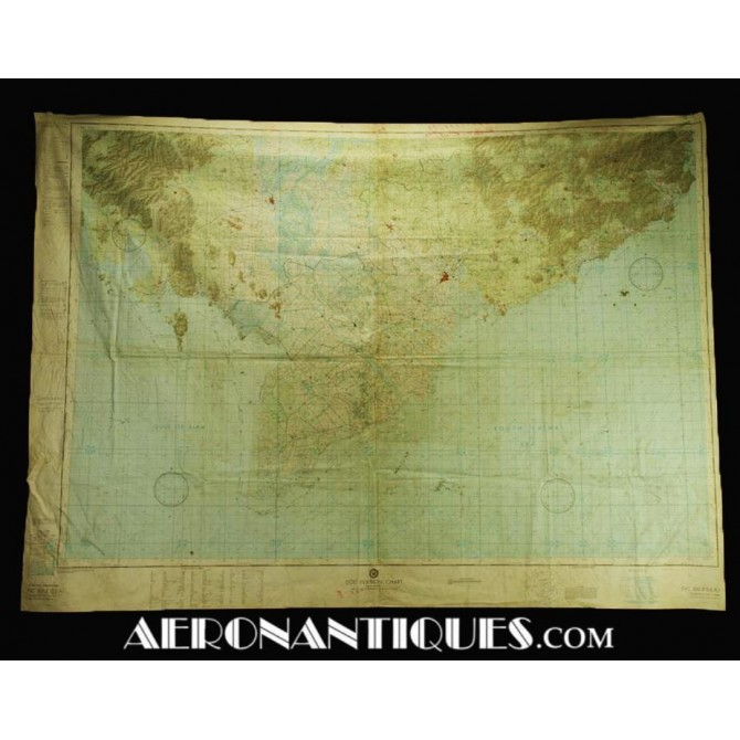 1966 Vietnam US Navy Air Force Pilot Evasion Chart Map