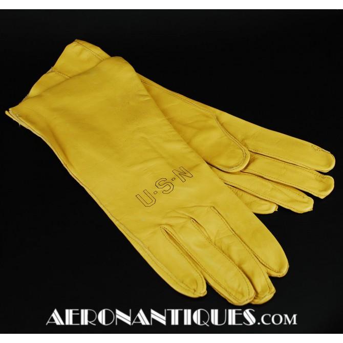 Vietnam USN Navy Pilot Leather Flying Gloves B-3A