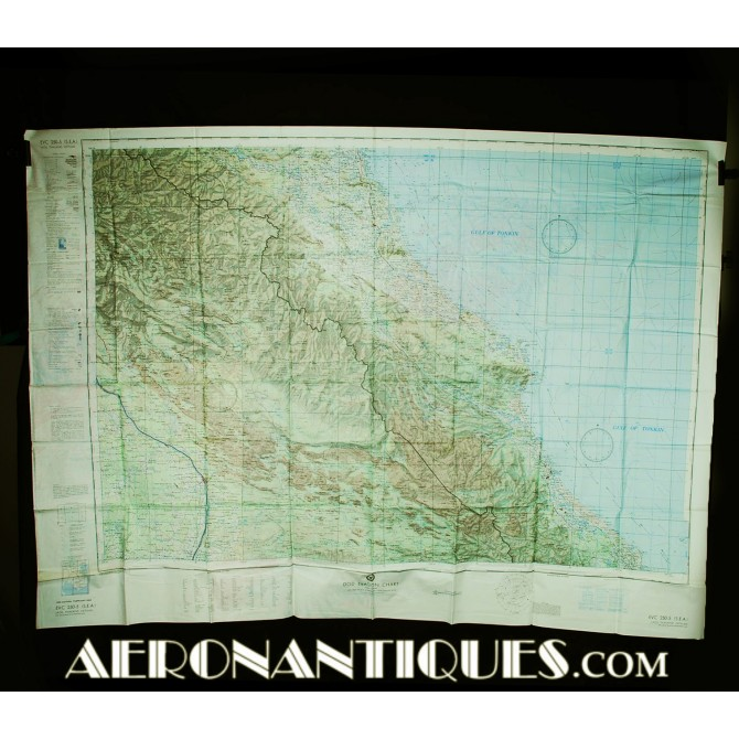 1968 Vietnam US Navy Air Force Pilot Evasion Chart Map