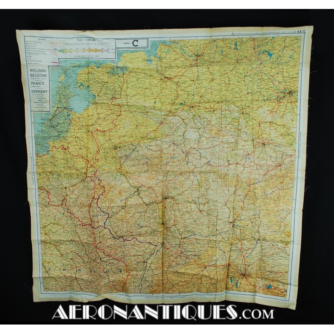 Escape Silk Chart C/D Handkerchief France Germany WWII