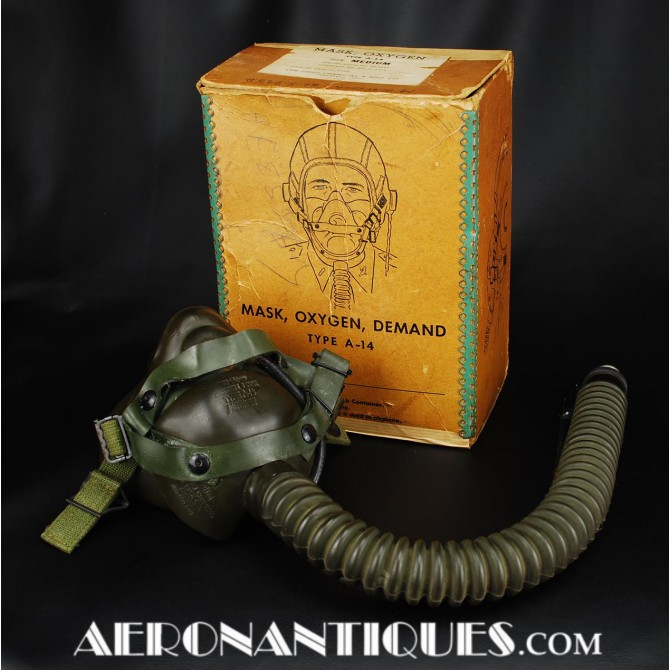 US Army Air Force Pilot A-14 Oxygen Mask WWII 1944