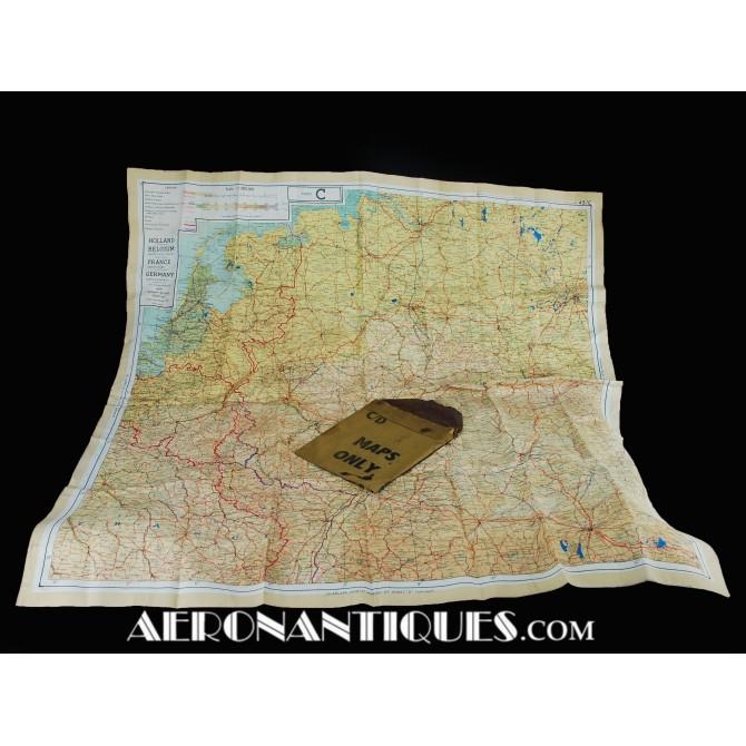 WWII Pilot Escape Silk Map C/D Zones + Pouch