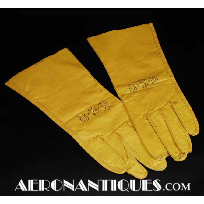 Vietnam USN Navy Pilot Leather Flying Gloves B-3A