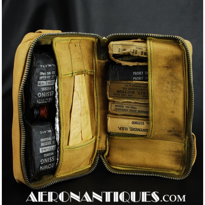 WWII First Aid Aeronautical Kit Pouch US Bomber Pilot
