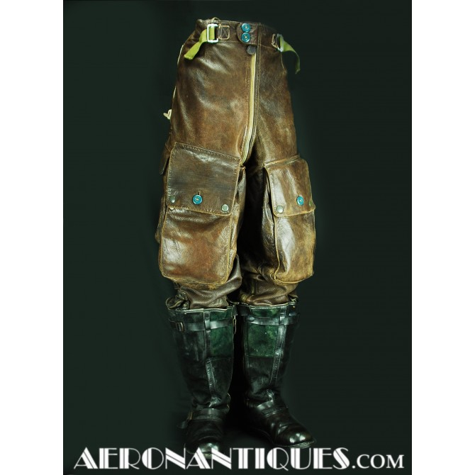 WWII German Luftwaffe Pilot Leather Flying Trousers