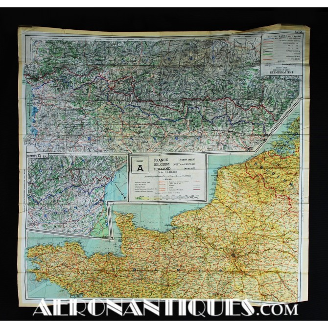 US Pilot Escape Silk Chart A/B France Germany WWII