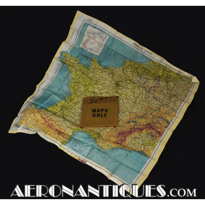 WWII US Pilot Escape Silk Chart Zones of France