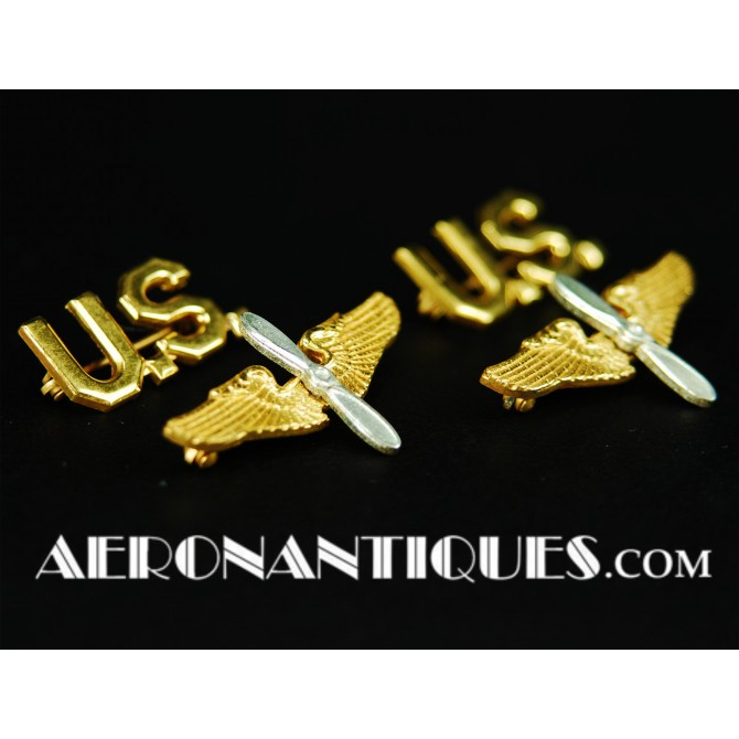 WWII US Army Air Force Pilot Officers Lapel Insignias