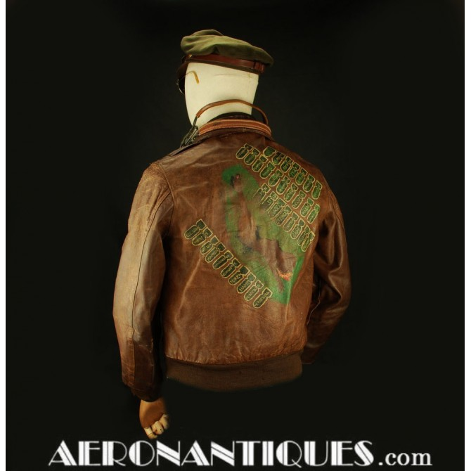 A-2 Painted Leather Flight Jacket Nose Art US Army 8th Air Force USAAF WWII