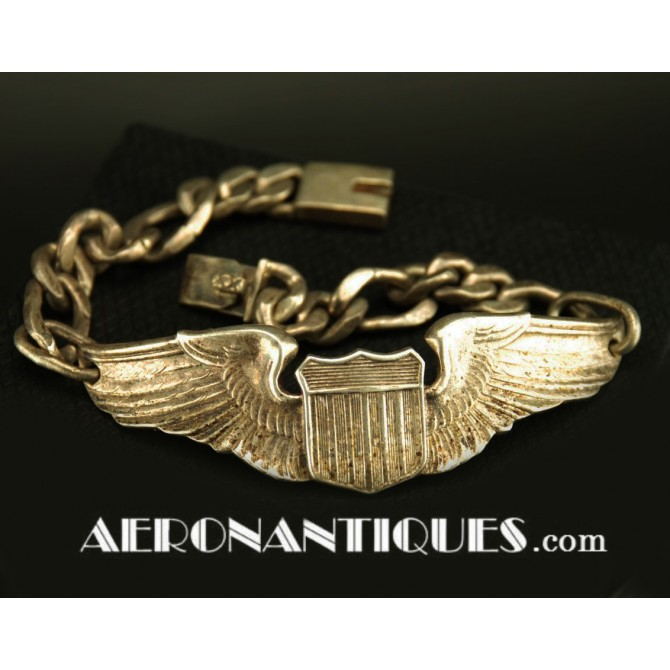 Bracelet WWII US Army Air Force Pilot Wings Sterling Badge