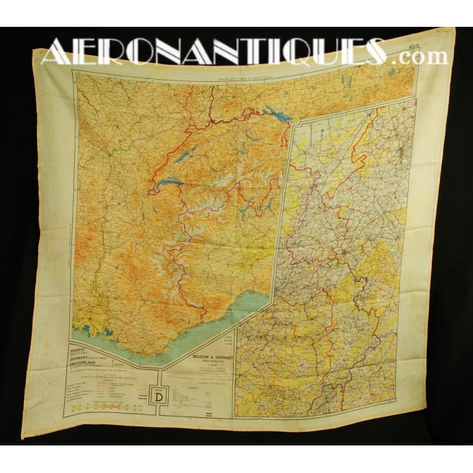 Escape Silk Chart D/F Handkerchief Germany East/Southern Europe WWII