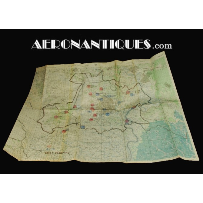 Vietnam US Helicopter FAC Pilot Saïgon Annotated Chart Map