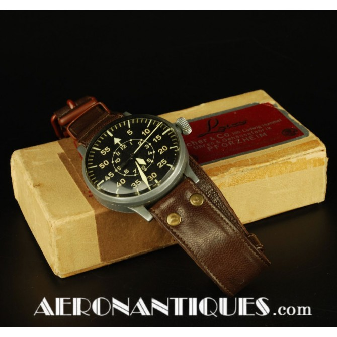 German WWII Luftwaffe Pilot LACO Observer Watch B Uhr